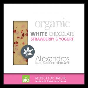 Alexandros - Βιολογική Σοκολάτα Λευκή Με Φράουλα